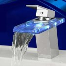 Wholesale Chrome Single Handle mount LED Glass Waterfall Bath Sink Faucets(O6601) Free Shipping
