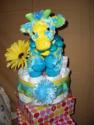 Cute yellow/teal giraffe Macy baby cake cupcake Jazzy collection