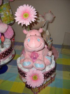 Macy Baby Cake 1 tier designer diaper cake hippo