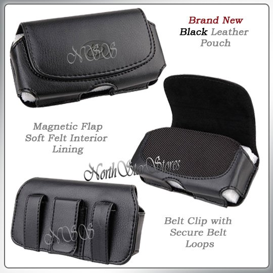 for NOKIA 6555 BLACK LEATHER CELL PHONE CASE POUCH CLIP