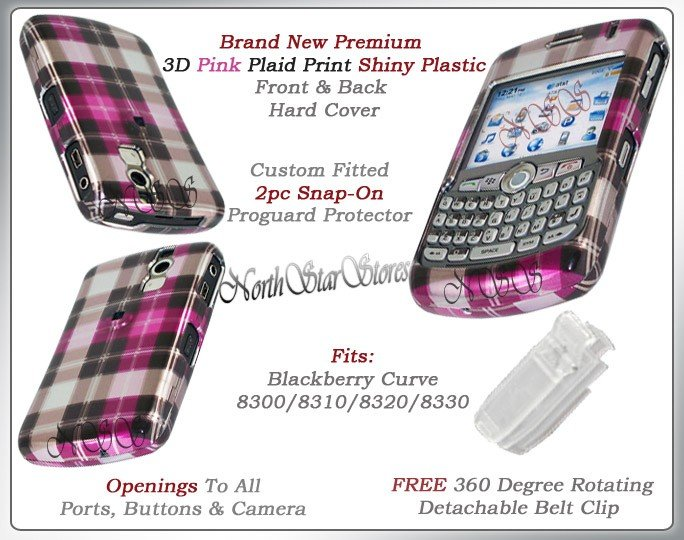 BLACKBERRY CURVE 8310 8320 8330 PINK CHECKERED CASE NEW