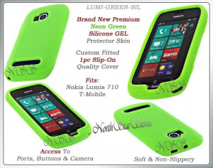 for NOKIA LUMIA 710 T-MOBILE SILICONE NEON GREEN CASE COVER SKIN PHONE ACCESSORY