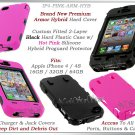 for APPLE iPHONE 4 4S 4G AT&T SPRINT VERIZON BLACK PINK ARMOR HYBRID CASE COVER
