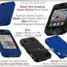 for APPLE iPHONE 4 4S 4G AT&T SPRINT VERIZON BLACK BLUE ARMOR HYBRID CASE COVER