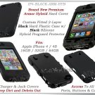 for APPLE iPHONE 4 4S ATT SPRINT VERIZON BLACK ARMOR HYBRID SILICONE SKIN COVER