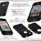 for APPLE iPHONE 4 4S 4G ATT SPRINT VERIZON BLACK HYBRID IMPACT COVER GUARD CASE