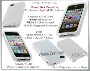 for APPLE iPHONE 4 4S AT&T SPRINT VERIZON WHITE HYBRID SILICONE CASE COVER GUARD