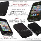 for APPLE iPHONE 4 4S AT&T SPRINT VERIZON BLACK HYBRID SILICONE CASE COVER GUARD