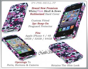 for APPLE iPHONE 4 4S ATT SPRINT VERIZON HARD BLACK WHITE PINK SKULLS CASE COVER