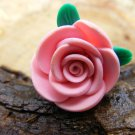 Large Pink Clay Rose Micro Geocaching Container
