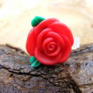 Small Red Clay Rose Micro Geocaching Container
