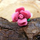 Small Dark Pink Clay Flower Micro Geocaching Container