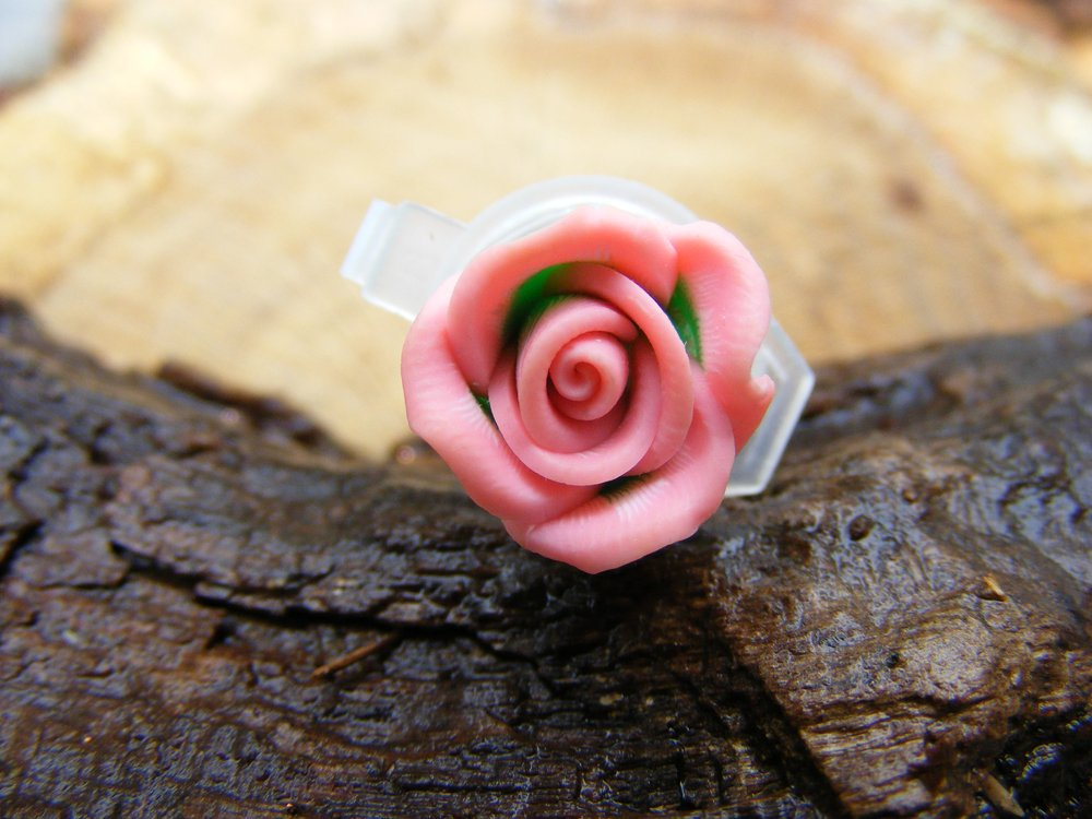 Small Pink Clay Rose Micro Geocaching Container