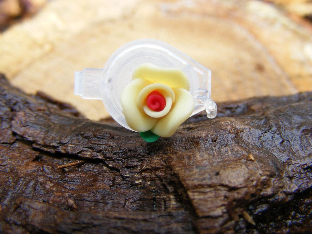 Tiny Yellow Clay Flower Micro Geocaching Container