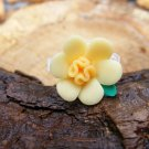 Large Yellow Clay Flower Micro Geocaching Container