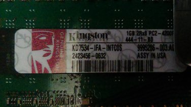 Kingston 1GB PC2-4200 DDR2-533MHz ECC Fully Buffered CL4 240-Pin DIMM