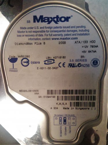 MAXTOR DiamondMax Plus 8 6E020L0510605