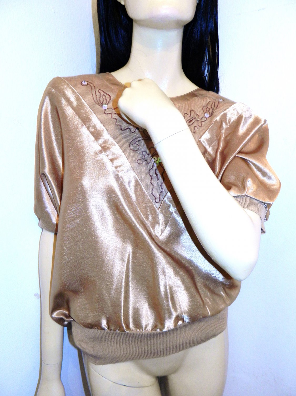 Vintage 70s Metallic Gold Short Sleeve Shirt/Blouse