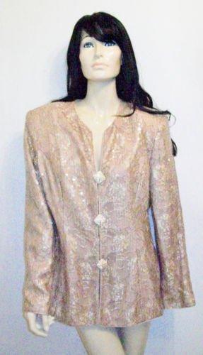Vintage 80's Gold Sequins Lace Blazer Jacket (ML)