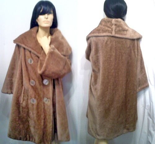 Vtg 60's Bell Sleeve Faux Fur Swing Coat Big Collar ML