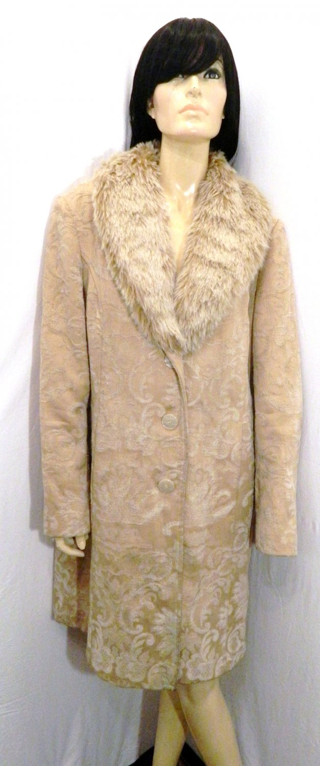 Vtg Tan Brocade Tapestry Carpet Coat, Big Faux Collar, ML