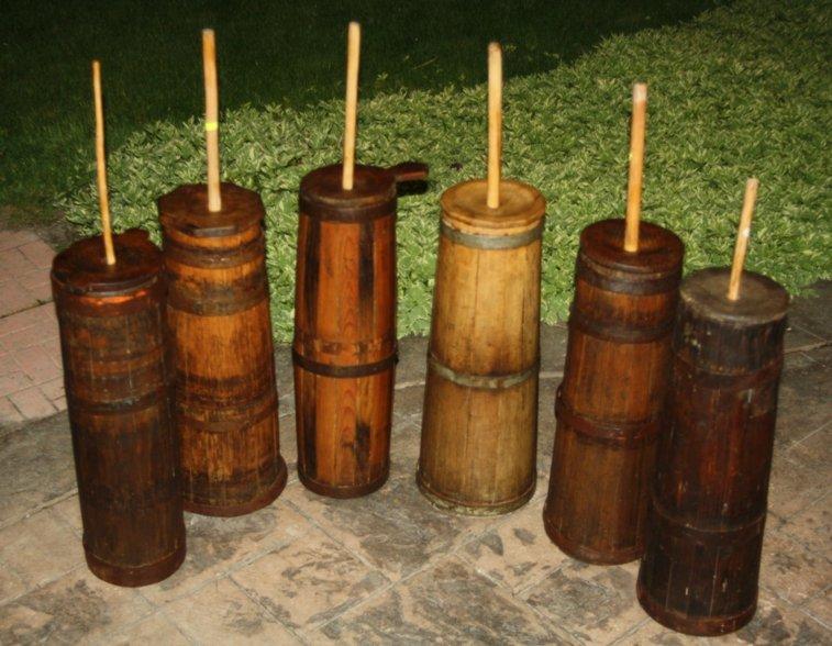 Antique  Primitive Staved Wooden Butter Churns
