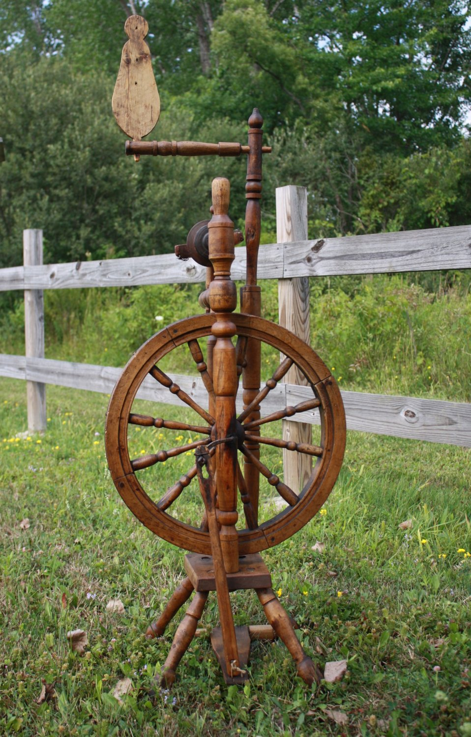 Antique Castle Style Upright Spinning Wheels