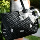 Black Silver Big Handmade Quilted Tote Bag Purse with Hello Kitty Appliques
