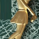 Vintage Signed JJ Lady Golfer Goldtone Brooch Pin
