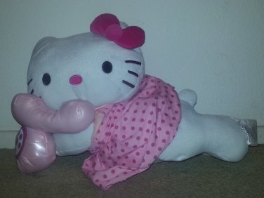Sanrio Hello Kitty Plush Stuffed Pillow Doll talking on Phone 19""