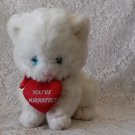 1983 Applause Wallace Berrie and Co. white kitten plush toy