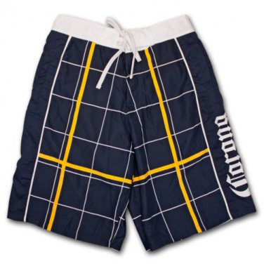 Corona Extra Plaid Navy Mens Board Shorts Blue