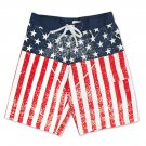 USA Distressed Patriotic American Flag Boardshorts Red