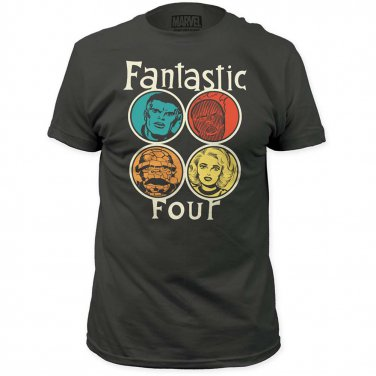 Marvel Comics Fantastic Four Circle Portrait T-Shirt Gray