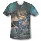 Jurassic Park Dinos Gather Sublimation T-Shirt Blue