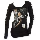 The Walking Dead Women's Slashed Long Sleeve Claimed Shirt Black