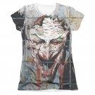 Batman Joker Smile Sublimation Juniors Tee Shirt Gray