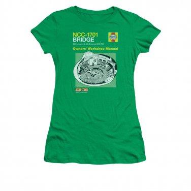 Star Trek Bridge Manual Juniors T-Shirt Green