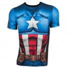 Captain America Men's Sublimated Costume Tee Shirt Blue