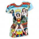 Wonder Woman Subilmated Junior's Comic Book Tee Shirt White