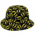 Batman Yellow Logo All Over Bucket Hat Black