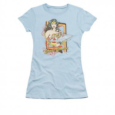 Wonder Woman Invisible Jet Juniors T-Shirt Blue