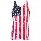 USA Patriotic American Flag Men's Stars And Stripes Tank Top Shirt Red