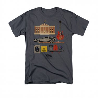 Back To The Future Men's Items Tee Shirt Gray