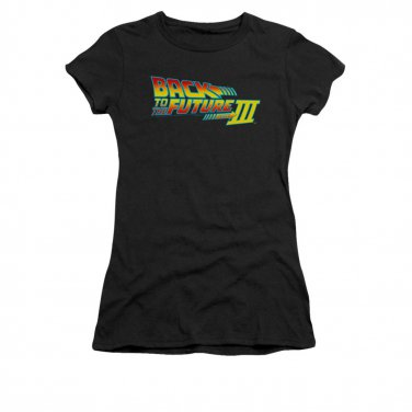 Back To The Future III Movie Logo Juniors Tee Shirt Black