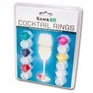 Cocktail Rings Wine Glass ID Charm Tags Set of 6 Pink