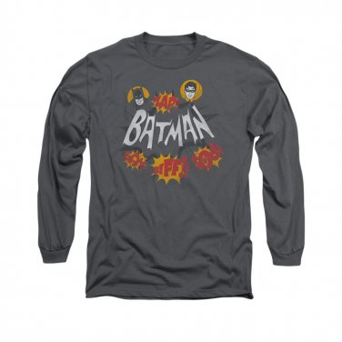 Batman Classic TV Sound Effects Long Sleeve T-Shirt Gray