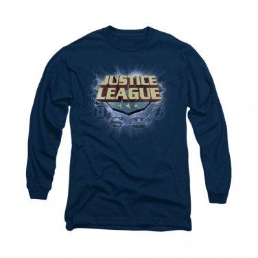 Justice League Storm Logo Long Sleeve T-Shirt Blue