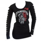 Sons Of Anarchy Slashed Long Sleeve Women's Roses Shirt Black