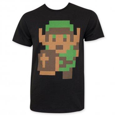 Nintendo Zelda Men's Pixelated Link Tee Shirt Black